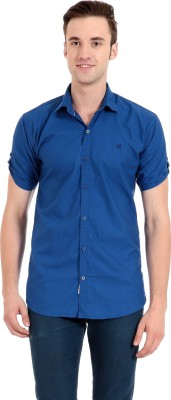 Camrick Men,s Solid Casual Blue Shirt