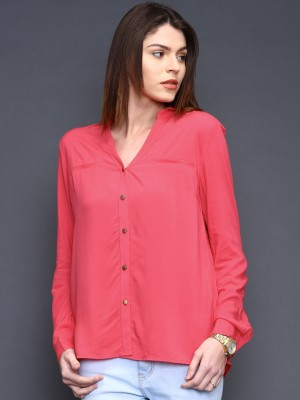 Sela Women's Solid Casual Pink Shirt
