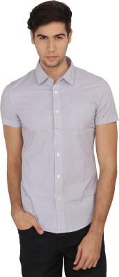 Calvin Klein Men's Striped Casual Grey Shirt
