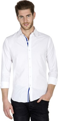 Tuscans Men's Solid Casual White Shirt