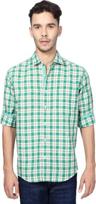 Peter England Men's Checkered Casual Green Shirt