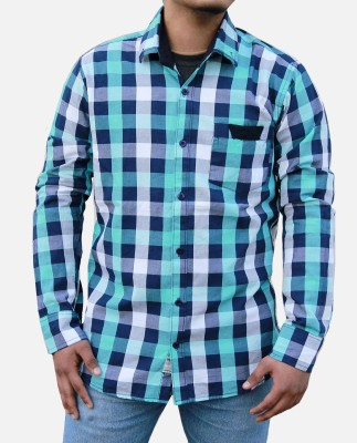 Yzade Men's Checkered Casual, Festive, Formal Blue Shirt