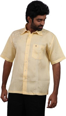 Karlsburg Men's Embroidered Casual Yellow, Gold Shirt