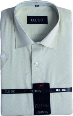 Qube Men's Self Design Formal Green Shirt