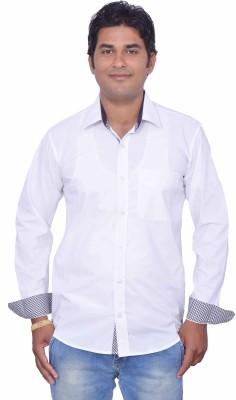 Leaf Mens Solid Casual White, Black Shirt