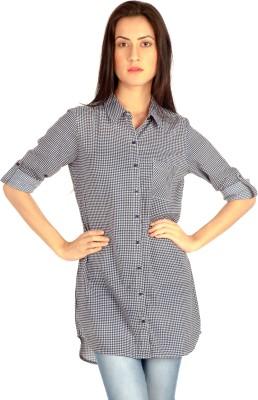 MIST ISLAND Women's Checkered Casual Blue Shirt