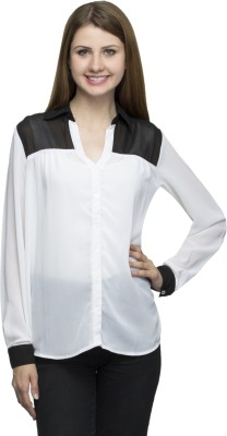 One Femme Women's Solid Formal White Shirt