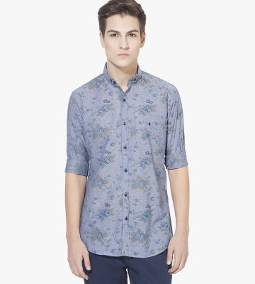 Green Hill Men's Printed Casual Blue Shirt
