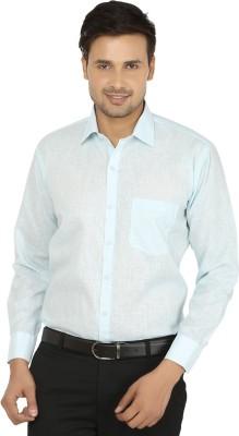 X-Cross Men's Self Design Formal Light Blue Shirt
