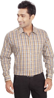 Boonplush Men's Checkered Formal Orange Shirt