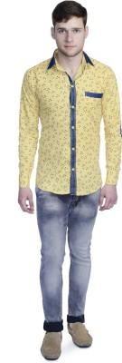 Aligatorr Men's Printed Formal Yellow Shirt