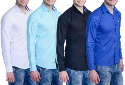 Aligatorr Men's Solid Formal Blue, Black, White, Light Blue Shirt