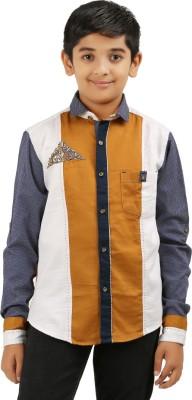 Cub Kids Boy's Printed Casual Dark Blue, White, Beige Shirt