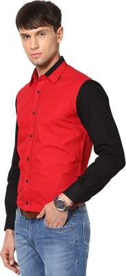 See Designs Men's Solid Casual Red, Black Shirt