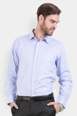Crocodile Men's Solid Formal Blue Shirt