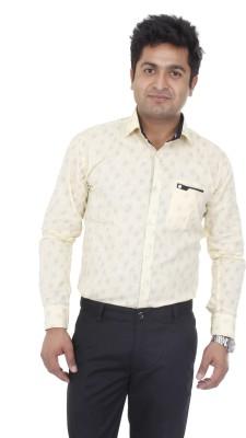 Aces Blue Men's Printed Formal Yellow Shirt