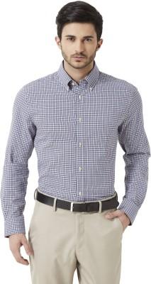Peter England Men's Checkered Formal Blue Shirt
