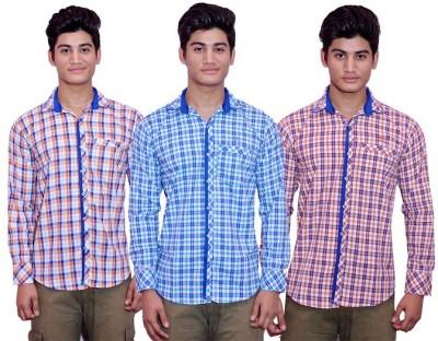 Lovanyaa Men's Checkered Casual Orange, Blue, Red Shirt