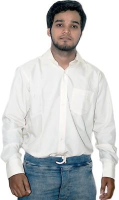 ZHENTZ Men's Solid Formal Orange Shirt