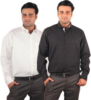 RIPARV Men's Solid, Printed Formal Blue, White Shirt