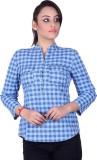 STADO Women's Checkered Casual Denim Blu...