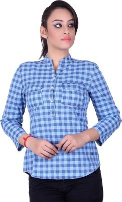 STADO Women's Checkered Casual Denim Blue Shirt