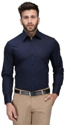 Alian Men's Solid Casual Dark Blue Shirt
