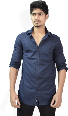 Hueman Men's Solid Casual Dark Blue Shirt