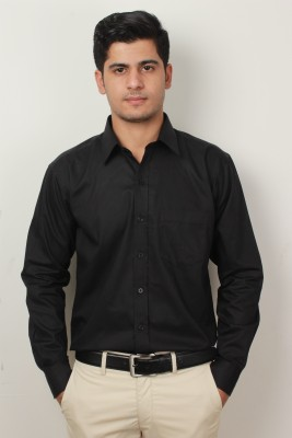 Frissk Men's Self Design Formal Black Shirt