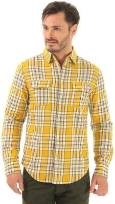 Jack & Jones Men's Checkered Casual Yellow Shirt
