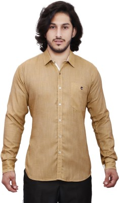 Dave Men's Solid Casual Brown Shirt