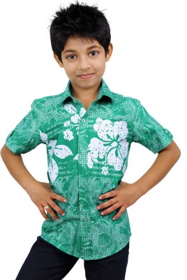 Zeal Boys Floral Print Casual Green, White Shirt