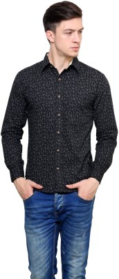 Shreebalajitraders Men's Floral Print Casual Black Shirt