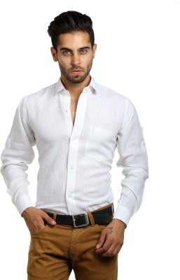 S9 Men's Solid Festive, Formal, Party, Wedding Linen White Shirt