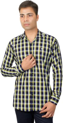 Phashion Town Men's Checkered Casual Yellow Shirt