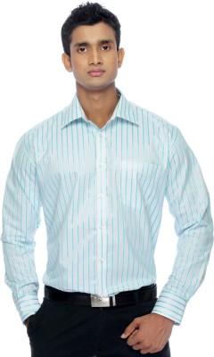 Zeal Mens Striped Formal White, Blue Shirt