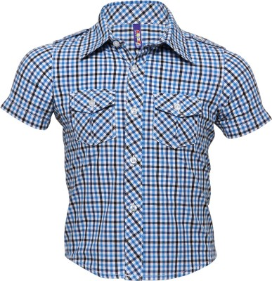 Tickles By Inmark Boy's Checkered Casual Blue Shirt