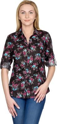 U&F Women's Floral Print Casual Black Shirt