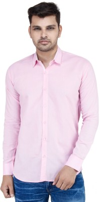 Stylox Men's Solid Casual Pink Shirt