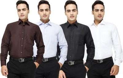 Yuva Men's Solid Formal Brown, Light Blue, Black, White Shirt