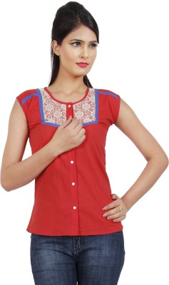 Klick2Style Women's Solid Casual, Formal, Party, Festive Red Shirt
