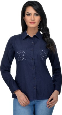 Urban Republic Women's Solid Casual Dark Blue Shirt