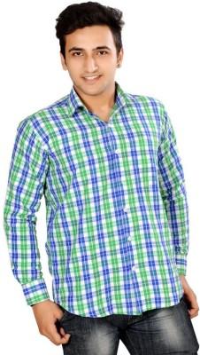 Mensfield Men's Checkered Casual Green Shirt