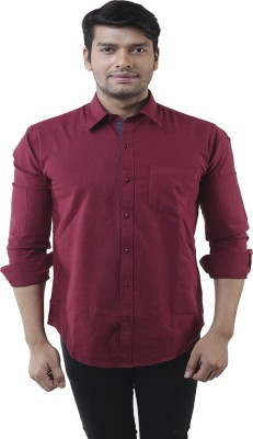 Lee Marc Men's Solid Casual Maroon Shirt