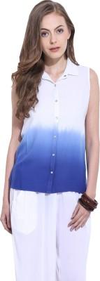Leo Sansini Women's Solid Casual Blue, White Shirt