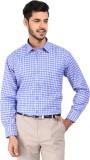Devaa Men's Checkered Formal Blue Shirt