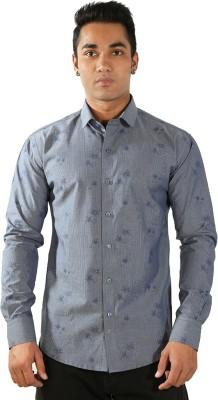 Just Differ Men's Self Design Formal Blue Shirt