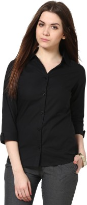 TheGudLook Women,s Solid Casual Black Shirt