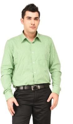 Hyphen Men's Checkered Formal Green Shirt