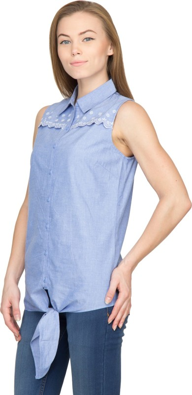 Famous by Payal Kapoor Women's Solid Casual Light Blue Shirt